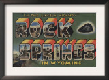 Rock Springs, Wyoming - Large Letter Scenes Poster
