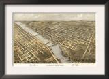 Grand Rapids, Michigan - Panoramic Map Art