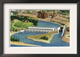 Oregon - Aerial View of the Bonneville Dam Power Plant Prints