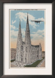 New York, NY - St. Patricks Cathedral and Airplane Prints