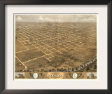 Decatur, Illinois - Panoramic Map Poster
