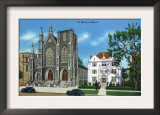 New Haven, Connecticut - Exterior View of St. Mary's Church Posters