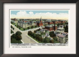 Worcester, Massachusetts - Aerial View of City Hospital Print