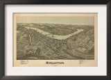 Morgantown, West Virginia - Panoramic Map Print