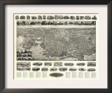 New London, Connecticut - Panoramic Map Poster