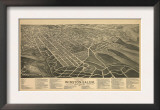 Winston-Salem, North Carolina - Panoramic Map Art