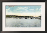 Worcester, Massachusetts - View of New Lake Quinsigamond Bridge Prints