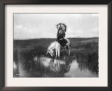 Cheyenne Indian, Wearing Headdress, on Horseback Photograph Prints