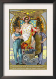 Labor Day Souvenir Laborers with Lady Justice Print