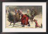 Christmas Greeting - Santa and Sleigh Poster