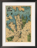 Sydney, Australia - Panoramic Map Prints