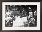 Children Licking Blocks of Ice on Hot Day Photograph Prints