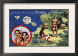 Tahiti - Map of the Island and Moorea Island, Natives Wearing Lais Posters