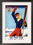 Rutland, Vermont - Flexible Flyer Pin-Up Skiing Girl Promotional Poster Posters
