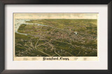 Stamford, Connecticut - Panoramic Map Art