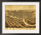South Bend, Indiana - Panoramic Map Poster