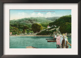 View of a Family on Lake Dock - Inverness, CA Posters