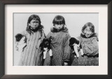 Eskimo Girls with Husky Puppies Photograph - Alaska Print