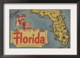 Come to Florida Map of the State, Pin-Up Girl - Florida Print