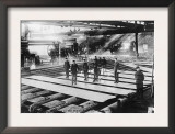 Men Laying out Plates in Steel Mill Photograph Posters