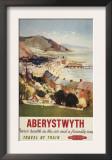 Aberystwyth, England - Aerial of Coast British Railways Poster Art