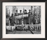 View of Men and Women with their Huge Trout Catch - Seward, AK Prints