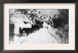 View of Stagecoach Driving through Snowy Mitchell Rd - Downieville, CA Print