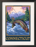 Connecticut - Angler Fisherman Scene Prints