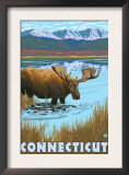 Connecticut - Moose Drinking in Lake Prints