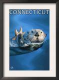 Connecticut - Sea Otter Scene Prints