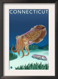 Connecticut - Cuttlefish Scene Poster
