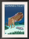 Connecticut - Cuttlefish Scene Poster