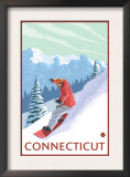 Connecticut - Snowboarder Scene Art