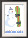 Telluride, Colorado, Snowman with Snowboard Posters
