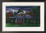 Virginia, Exterior View of the Monticello at Night near Charlottesville Print