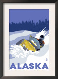 Alaska, Snowmobile Scene Prints