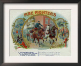 Firefighters Brand Cigar Inner Box Label, Fireman with Horse-Drawn Engine Prints