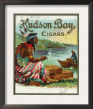 Hudson Bay Brand Cigar Outer Box Label, Native American Prints