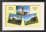 Hartford, Connecticut, View of Trinity College, Chapel, Dorms, Lab Buildings Prints
