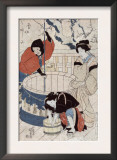 Women Getting Water at the Well, Japanese Wood-Cut Print Print