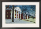 Lexington, VA, Exterior View of Washington, Lee University at Night during Winter Print