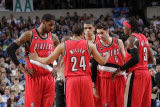 Portland Trail Blazers v Dallas Mavericks-GameTwo,Dallas,TX-April 19:Andre Miller, LaMarcus Aldridg Photographic Print