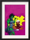 Howard The Duck 3 Cover: She-Hulk and Howard The Duck Fighting Prints by Juan Bobillo