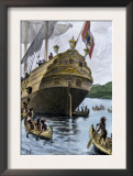 Henry Hudson&#39;s Ship, Half Moon, Arriving at Manhattan Island, c.1609 Print