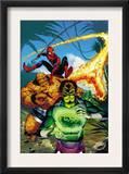 Spider-Man Family 7 Cover: Spider-Man, Thing, Looter and Human Torch Print by Karl Kesel
