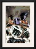 Thanos 12 Cover: Thanos and Gladiator Swimming Print by Ron Lim