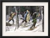 Native American Trappers Carrying Furs on Snowshoes in a Forest of the Pacific Northwest Prints