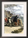 Mutineers Send Henry Hudson and His Son Overboard to Die Adrift in a Small Boat in the Arctic 1611 Prints