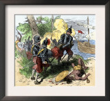 Juan Ponce de Leon, Wounded by Florida Natives, Carried Aboard Ship for Retreat to Cuba, c.1521 Poster