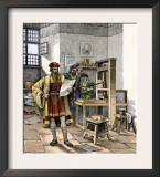 Gutenberg and Fust with the First Printing Press, Germany, 1450s Art